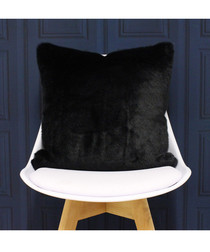 Russ black faux fur cushion 45cm