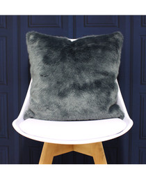 Russ navy faux fur cushion 45cm