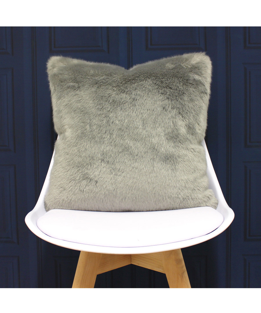 Russ grey faux fur cushion 45cm Sale - riva paoletti
