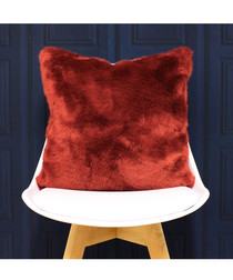 Russ red faux fur cushion 45cm