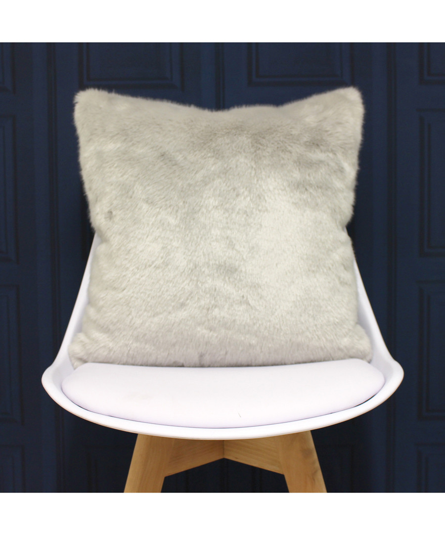 Russ silver faux fur cushion 45cm Sale - riva paoletti