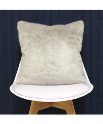 Russ silver faux fur cushion 45cm