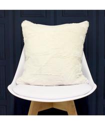 Chinchilla cream faux fur cushion 45cm