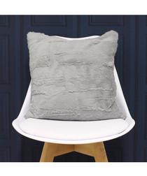 Chinchilla grey faux fur cushion 45cm