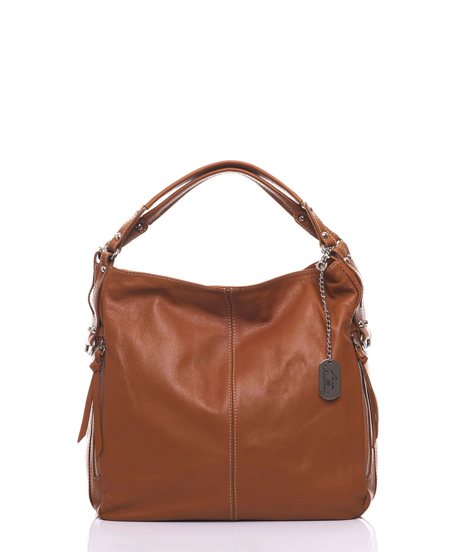 Caramel pure leather slouch shoulder bag Sale - anna morellini