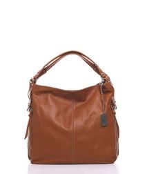 Caramel pure leather slouch shoulder bag
