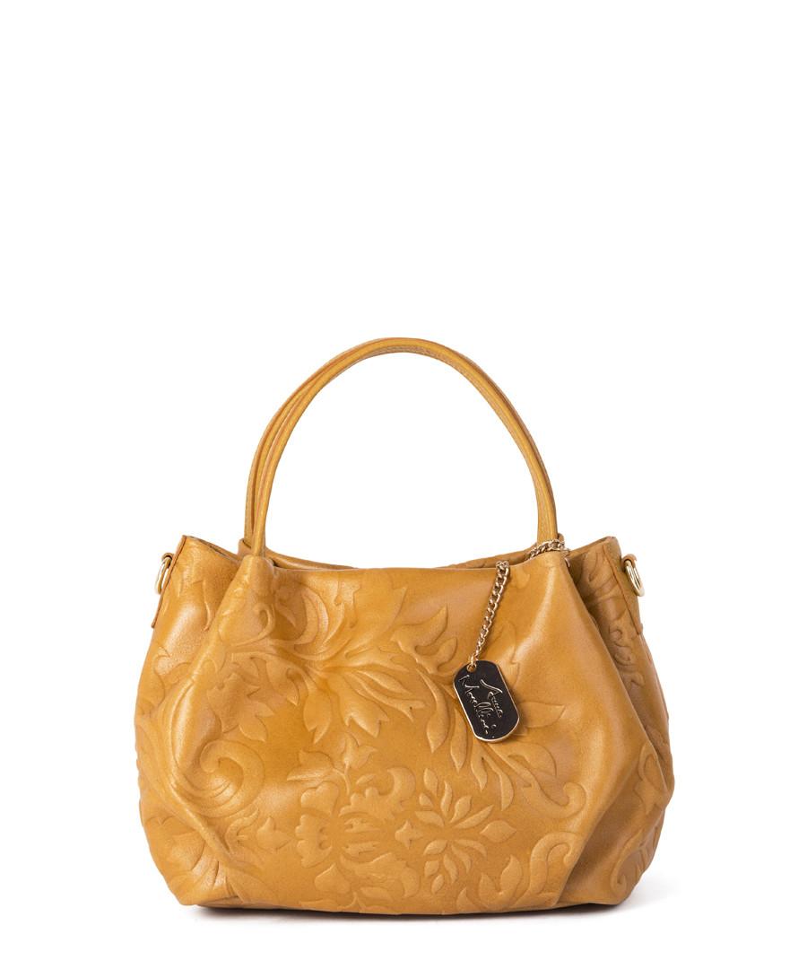 Yellow embossed leather slouch handbag Sale - anna morellini