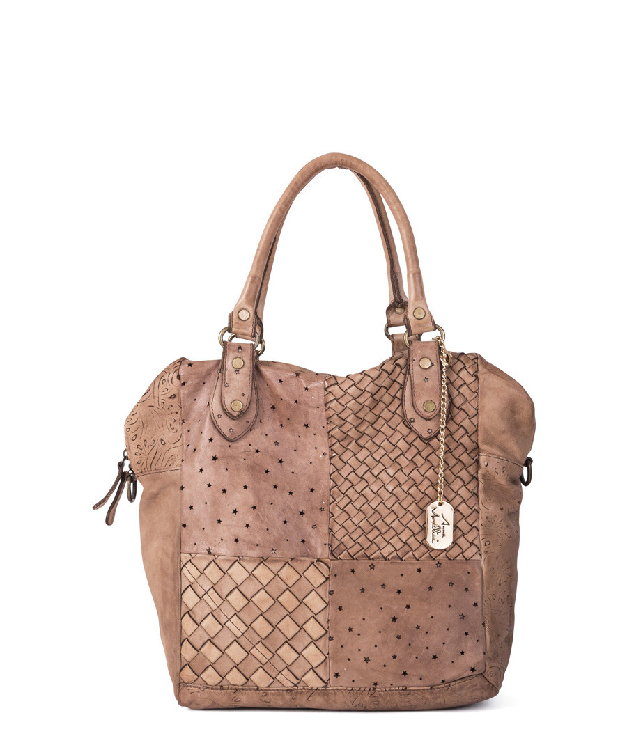 Taupe leather weave-effect shoulder bag Sale - anna morellini