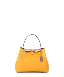 Yellow leather metal logo handbag