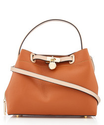 Tan leather metal logo handbag
