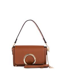 Tan leather metal zip grab bag