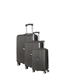 3pc grey spinner suitcase nest