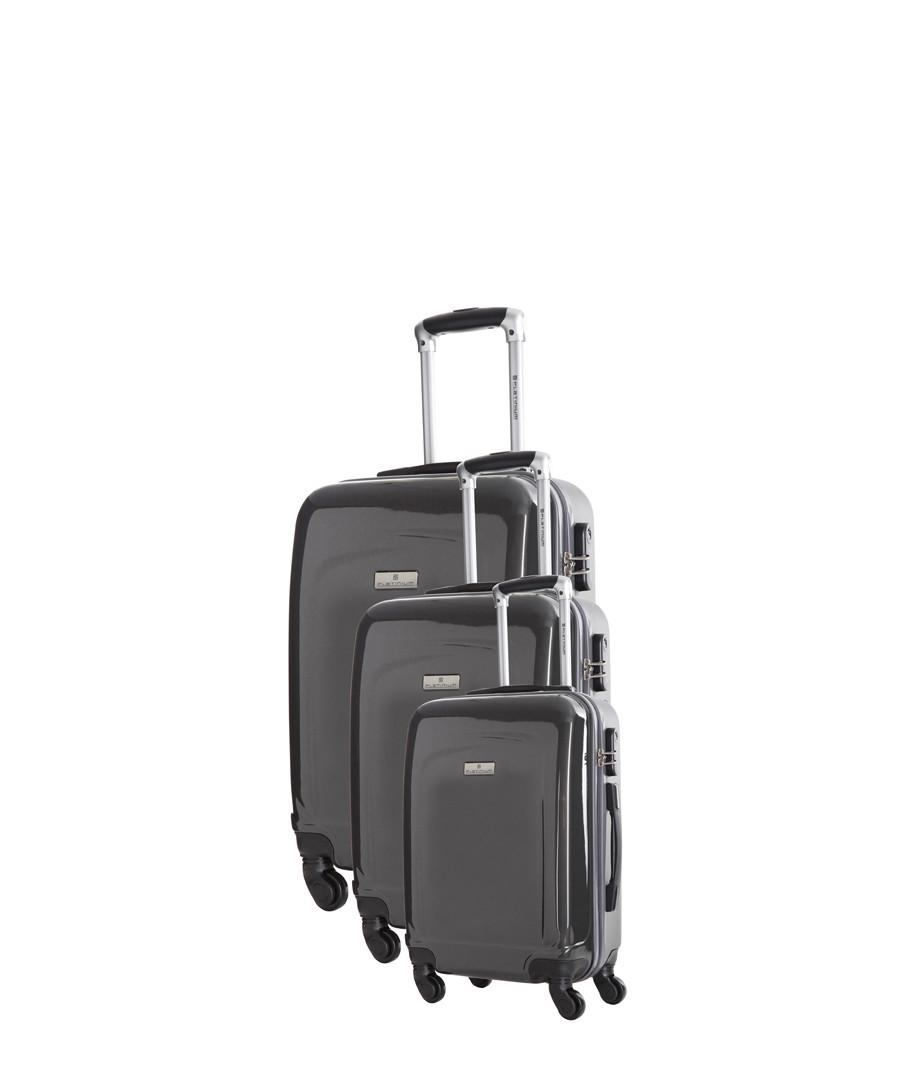 3pc grey spinner suitcase nest Sale - platinium