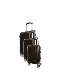 3pc black spinner suitcase nest