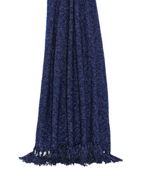 Auriella navy fringed throw 180cm