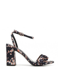 Akkrum navy flower high heel sandals