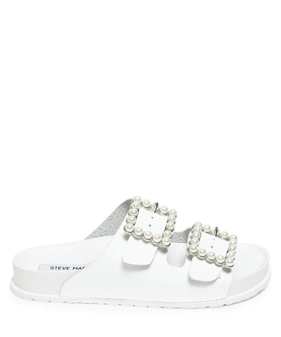 Nora white pearl buckle sandals Sale - Steve Madden
