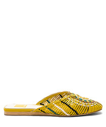 Baez yellow pattern mules
