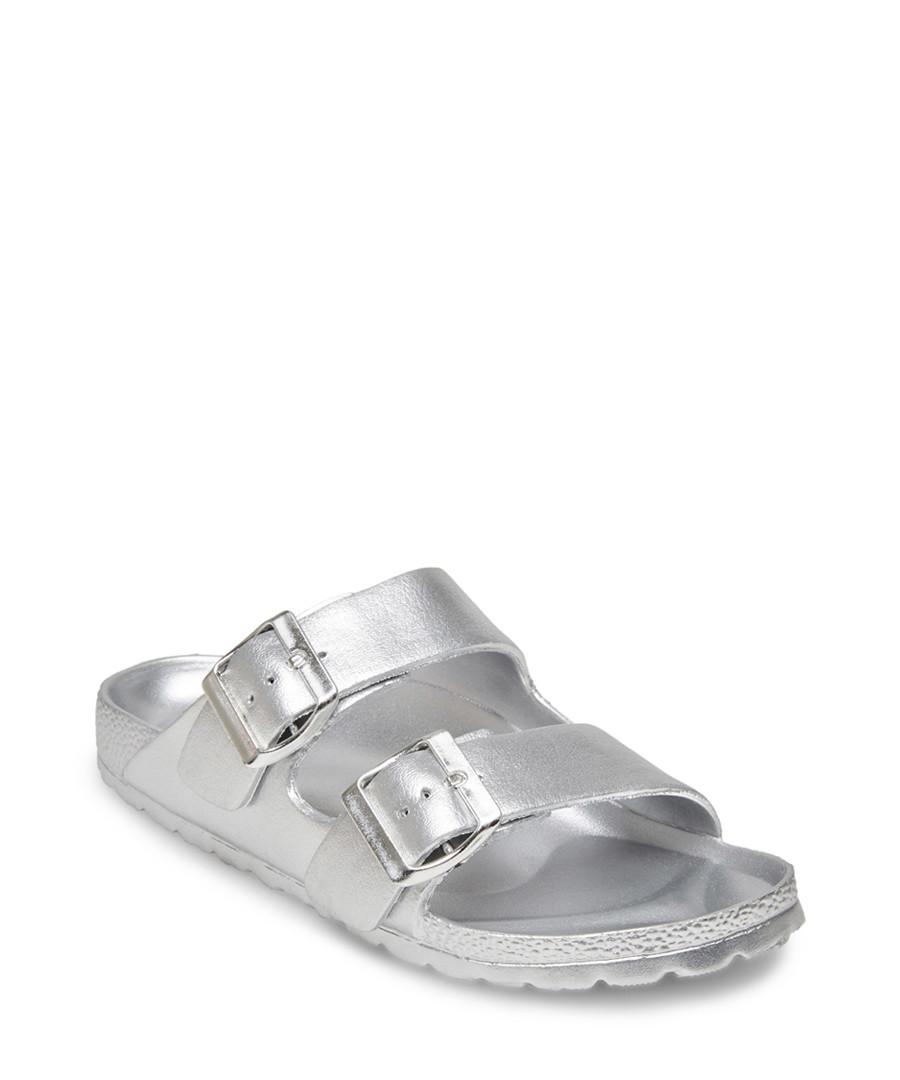 Bubbles silver flat buckle sandals Sale - Steve Madden