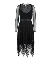 The Jara black pattern mesh dress