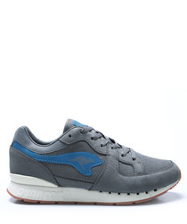 Coil-R1 Nubuck grey leather sneakers