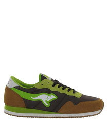 Invader Colours green leather senakers