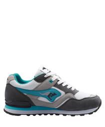 Racer 2 grey & ocean suede sneakers