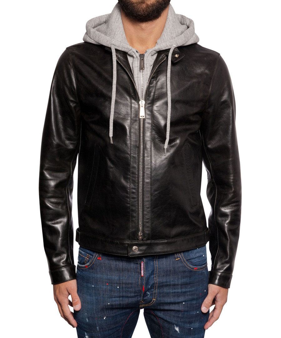Men's black faux leather hoodie Sale - DSQUARED2