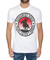 Men's white pure cotton T-shirt