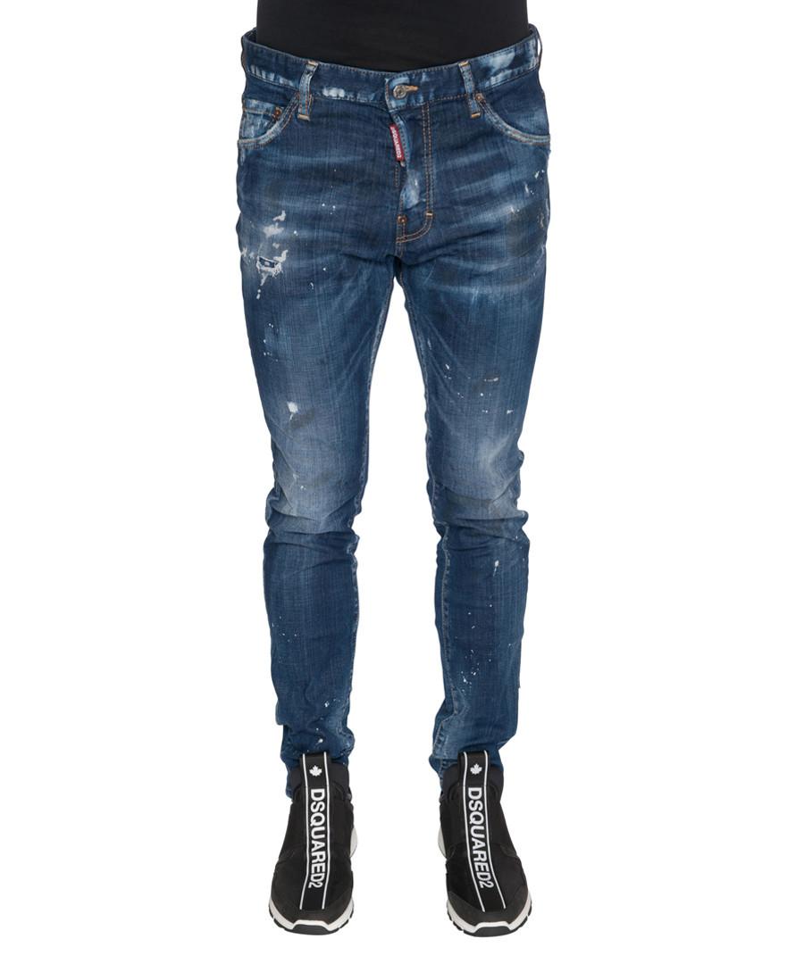 Men's blue cotton blend distressed jeans Sale - DSQUARED2