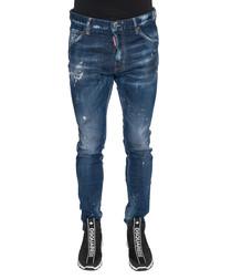 Men's blue cotton blend distressed jeans