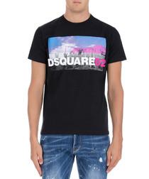 Men's black pure cotton T-shirt