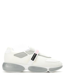 Women's silver & white leather sneakers