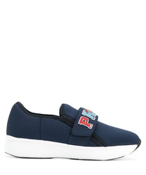 Women's blue thick sole sneakers