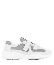 Women's white leather Velcro sneakers