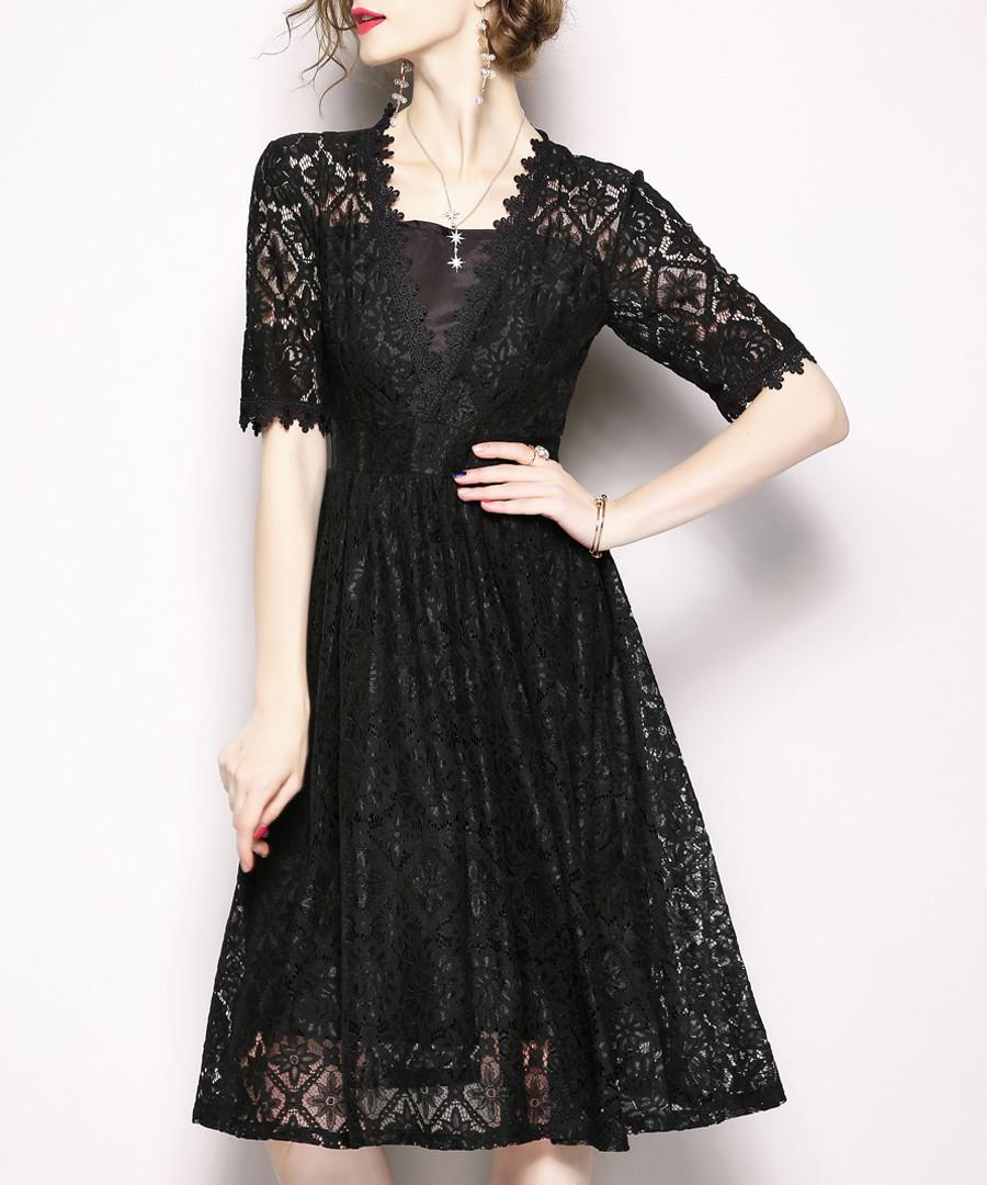 Black lace knee-length dress Sale - Kaimilan