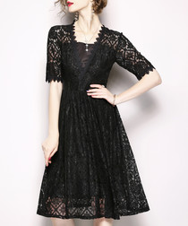 Black lace knee-length dress