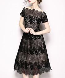 Black sheer short sleeve dress