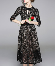 Black sheer detail midi dress