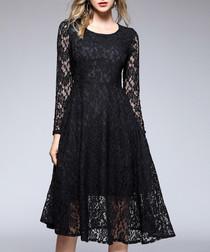 Black long sleeve lace knee-length dress