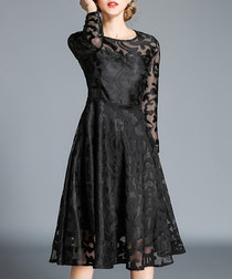 Black long sleeve knee-length dress