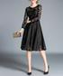 Black long sleeve knee-length dress Sale - Kaimilan Sale