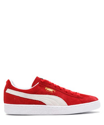 Classic+ red & white suede sneakers