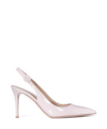 Jackie pink leather buckle pumps