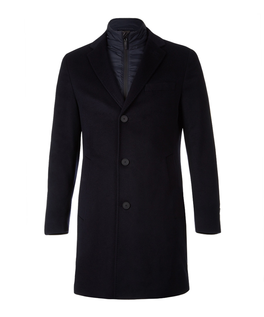 Lennard dark blue virgin wool blend coat Sale - Boss By Hugo Boss