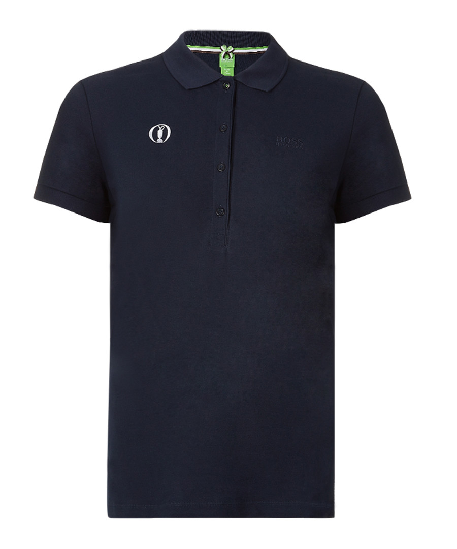 Womens  navy cotton blend polo shirt Sale - Boss By Hugo Boss