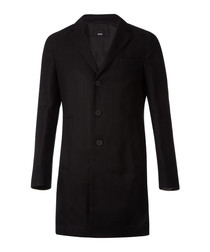 Shawn black cotton blend coat