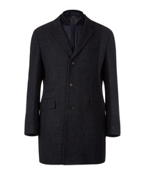 Nadim dark blue wool blend coat