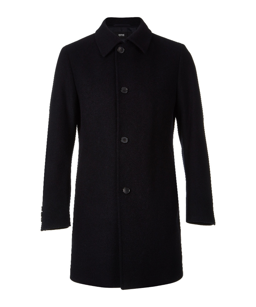 Navy wool blend button up collar coat Sale - Boss By Hugo Boss