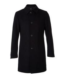 Navy wool blend button up collar coat